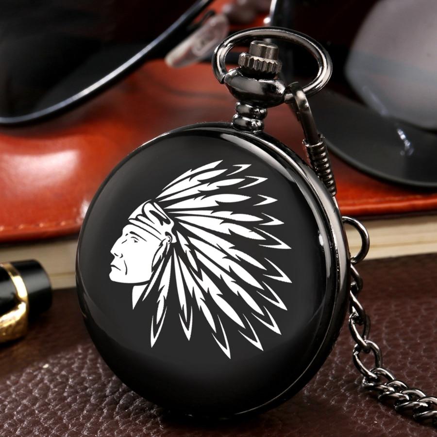 Customized Antique Indian Old Man Portrait Design Quartz Fob Pocket Watch Black Chain Necklace Chain Souvenir Gifts Dropshipping