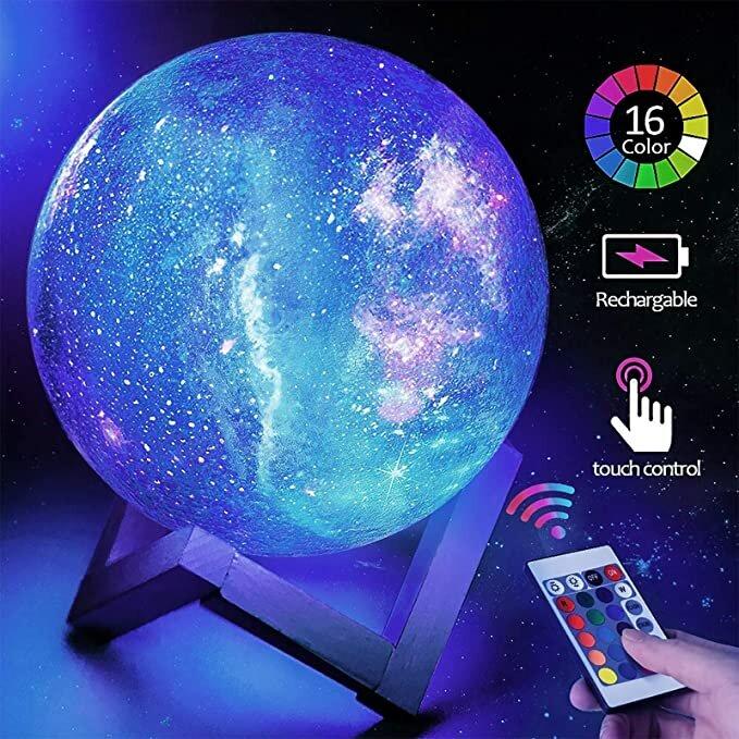 3D печать, лампа в виде Луны, лампа в виде Луны для Галактики, детский ночник, 16 цветов, сенсорное и дистанционное управление, Галактический св...