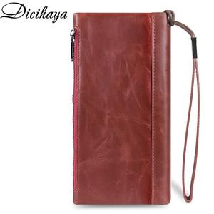 Image 2 - DICIHAYA Genuine Leather Long Woman Red Purse Wallet Clutch Bag Ladies Purses Card Holder Women Phone Bags Carteira Feminina