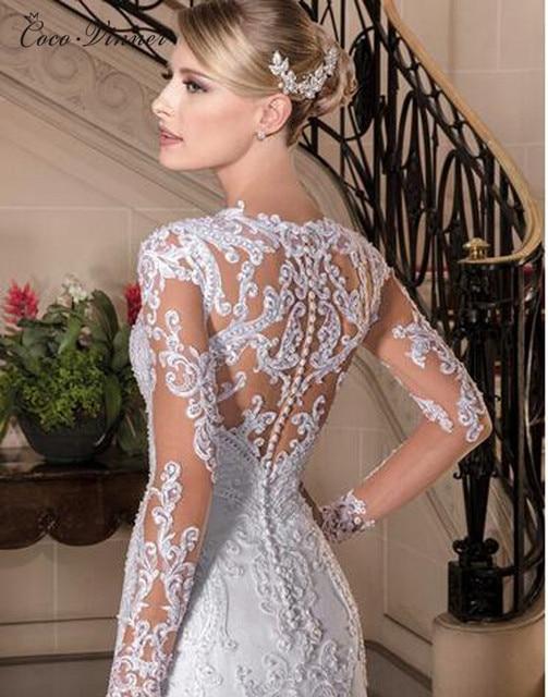 Sexy Illusion Back Long sleeve Lace Mermaid Wedding Dress 2021 Europe New Pearls Beading Appliques White Wedding Dresses W0149 1