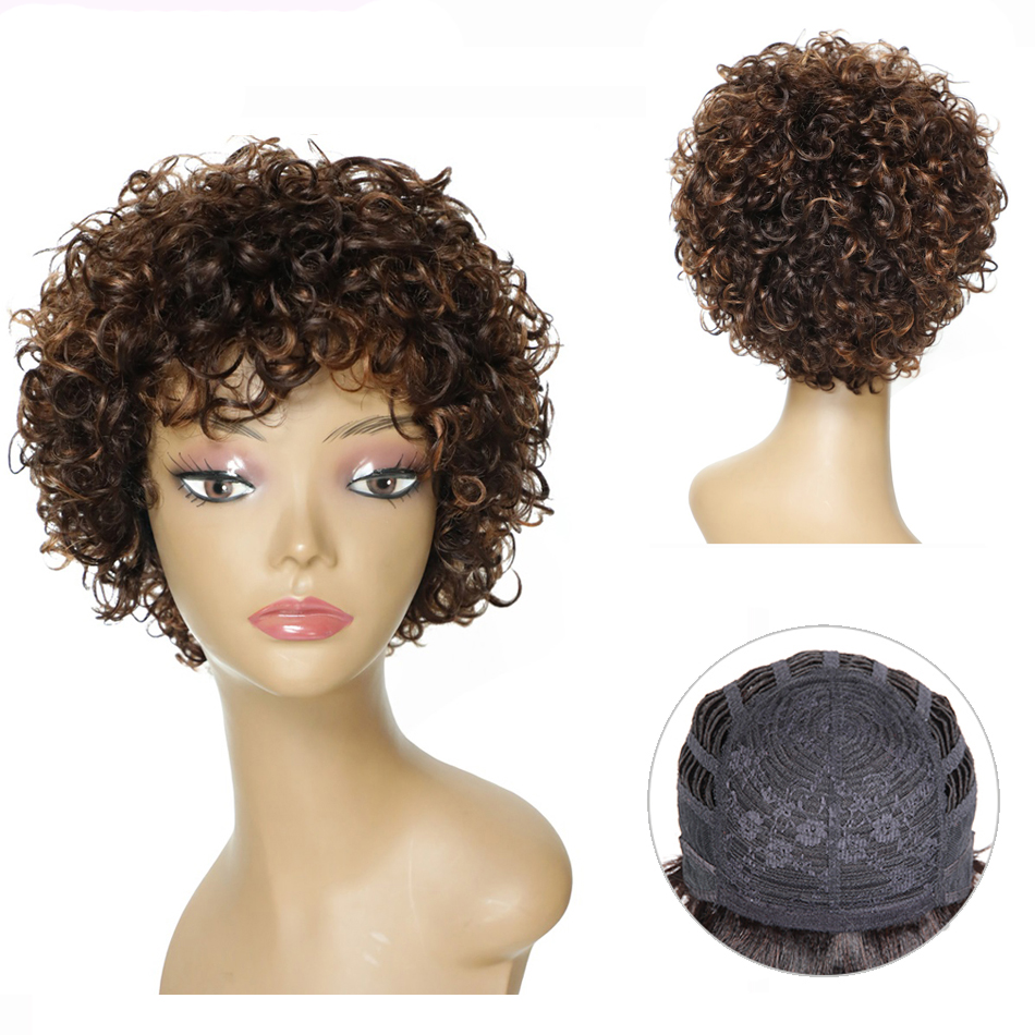 Morichy Loose Wave Short Cut Full Wigs 8 Inch Indian NON-Remy Real Human Hair DIY Mix Medium Brown Older Vintage Styles Wigs