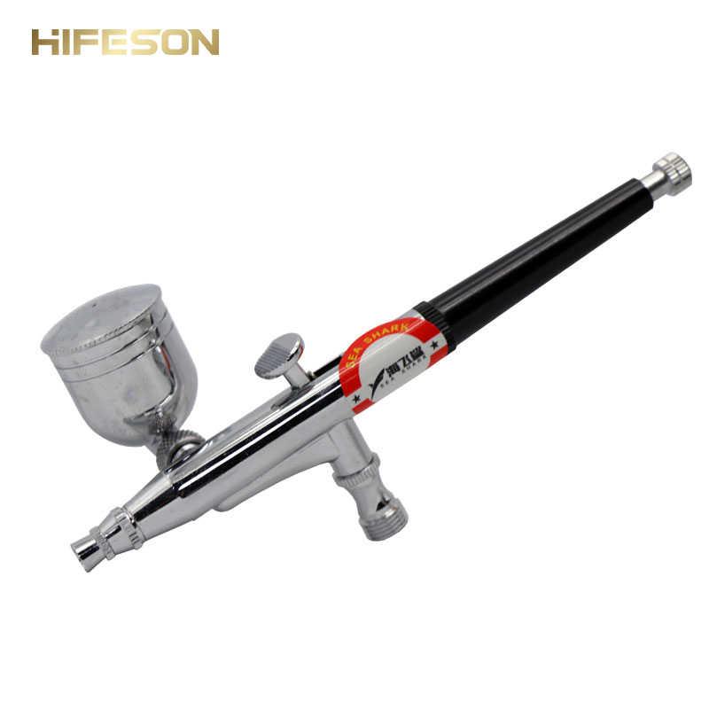 Air Spray Borstel Pistool Pneumatische Mini Verfspuitpistool Tool 0.3mm Nozzle AirBrush Pen voor Auto Commerciële Schilderen 5cc toolbox
