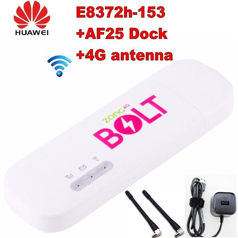 Unlocked huawei E8372 E8372h-153 4g usb modem WIFI 150Mbps with 2pcs 4g antenna and charger station image