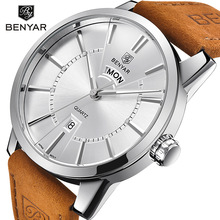 купить BENYAR Men Fashion Sport Business Top Brand Watches Men's Quartz Clock Man Army Military Leather Wrist Watch Relogio Masculino дешево