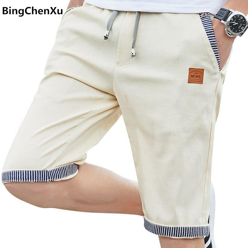 Casual Shorts Joggers Linen Bermuda Cotton Summer Mens Plus-Size Fashion Beach Male 4922