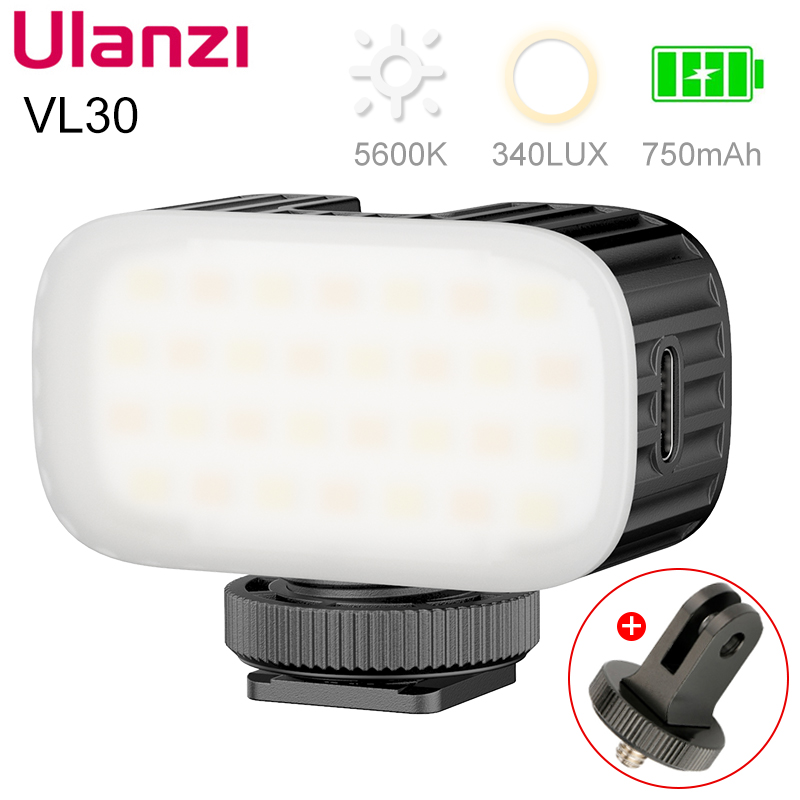 Ulanzi vl30 5500k mini luz de vídeo led recarregável gopro luz mod na luz da câmera para gopro 9 8 iphone 12 pro max 11 x xs max