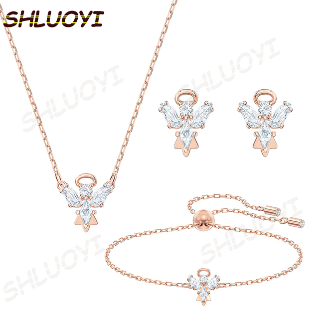 SHLUOYI Fashion jewelry high quality SWA new angel wings. Exquisite crystal charm pendant necklace