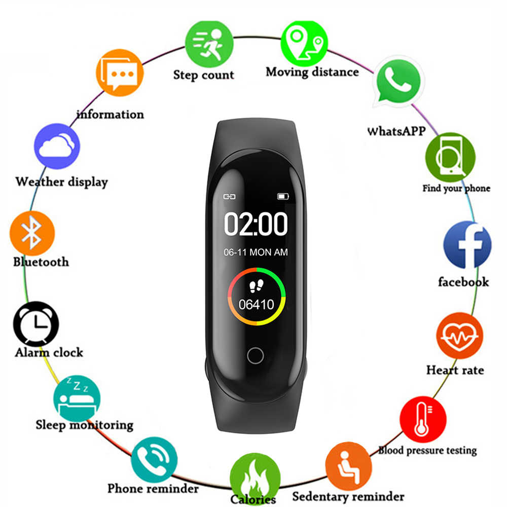 2019 M4 Plus Smartwatch Heart Rate Tekanan Darah Monitor Olahraga Gelang Tahan Air Kebugaran Tracker Aktivitas Tracker Smart Watch