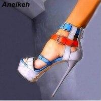 Aneikeh mode femmes mélange de couleurs sandales chaussures d'été femme plate-forme Sexy talons aiguilles Sandalia Feminina pompes taille 35-40