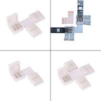 Conector de luz de tira LED, 10 Uds., 4 pines, 8mm, 10mm, PCB, tira para Tira sin soldadura, hebilla de conector fácil para 2835 SMD 5050 RGB