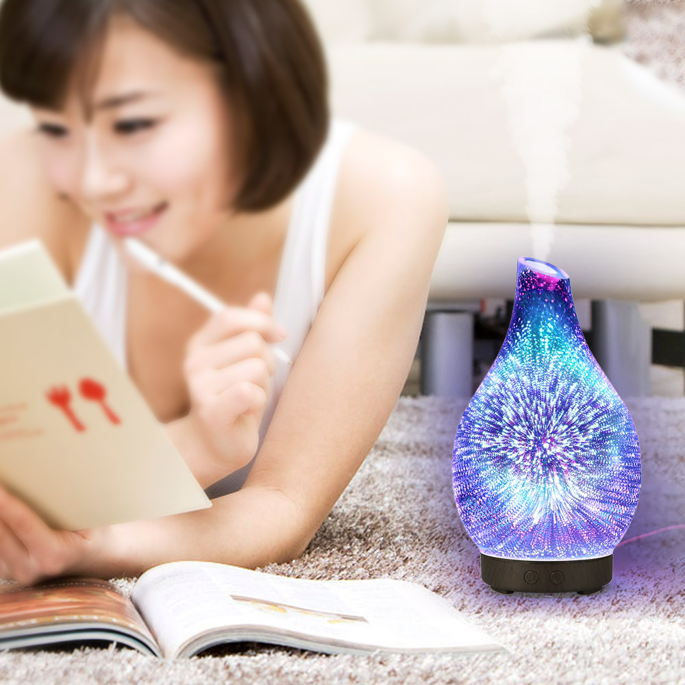 100ml 3D Glass Ultrasound Aroma Diffuser Essential Oil Diffuser Aromatherapy Ultrasound Humidifier 7 Color-changing LEDs