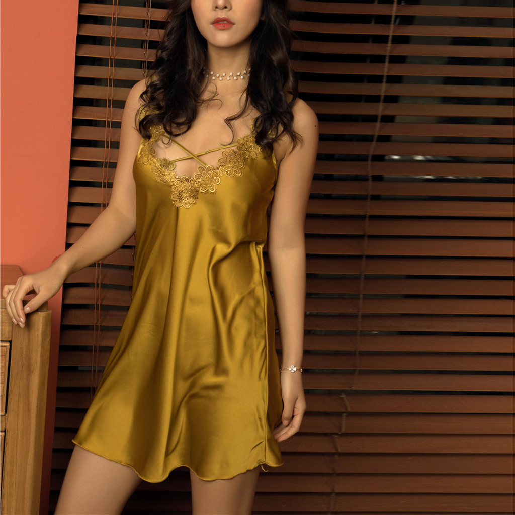 Hot Sexy Women   Nightgowns   Satin   Sleepshirts   Nightshirts Silk Sleepwear Satin Sexy Spaghetti Strap Nightdress Lace Nightwear*B