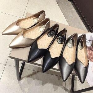 Image 5 - 2020 najnowszy szary podstawowe damskie płaski baleriny buty szpiczasty nosek wiosna jesień kobieta mokasyny na co dzień miękkie panie pracują pojedyncze buty