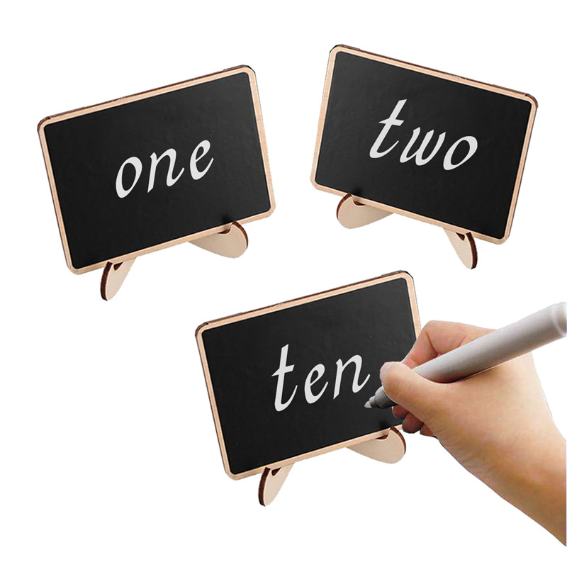 5Pcs/Set Mini Wooden Chalk Blackboard Wedding Kitchen Restaurant Signs Chalkboard Writing Notice Message Paint Wood Drawing Toys