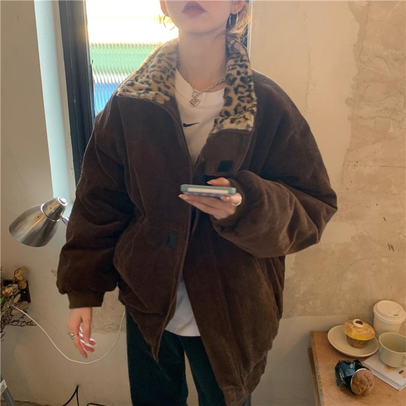 Alien Kitty 2020 New Winter Leopard Patchwork Women Coat Corduroy Warm Loose Casual  Jacket Female Outwear Elegant Tops