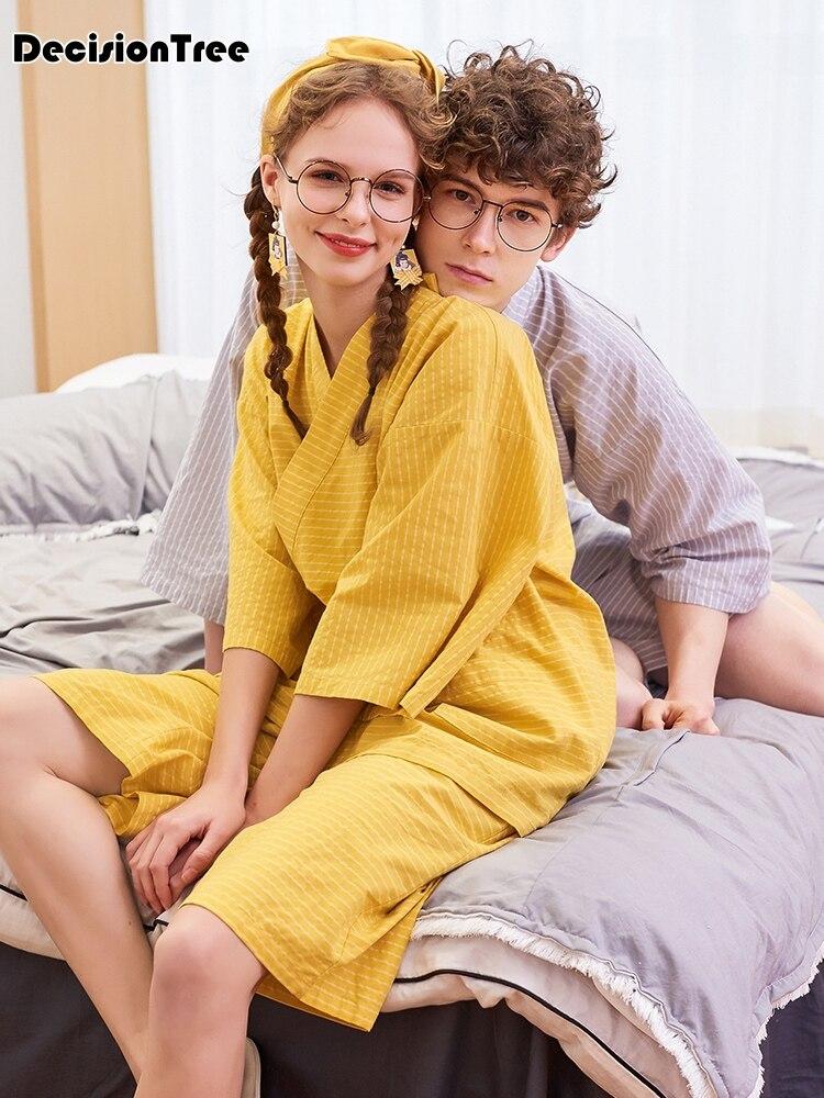2020 Japanese 100% Cotton Short Pyjamas Men Sleepwear Japanese Kimono Pajamas Sets Homewear Bathrobe Kimono Robes Pijama Hombre