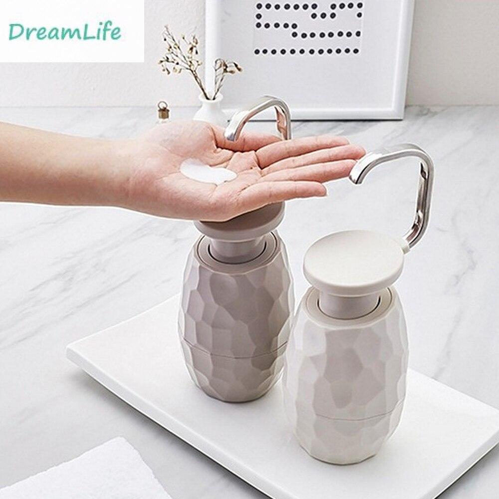 400ml Refillable Empty Home Hand Sanitizer Shampoo Soap Storage Dispenser Bottle for Home Light Grey
