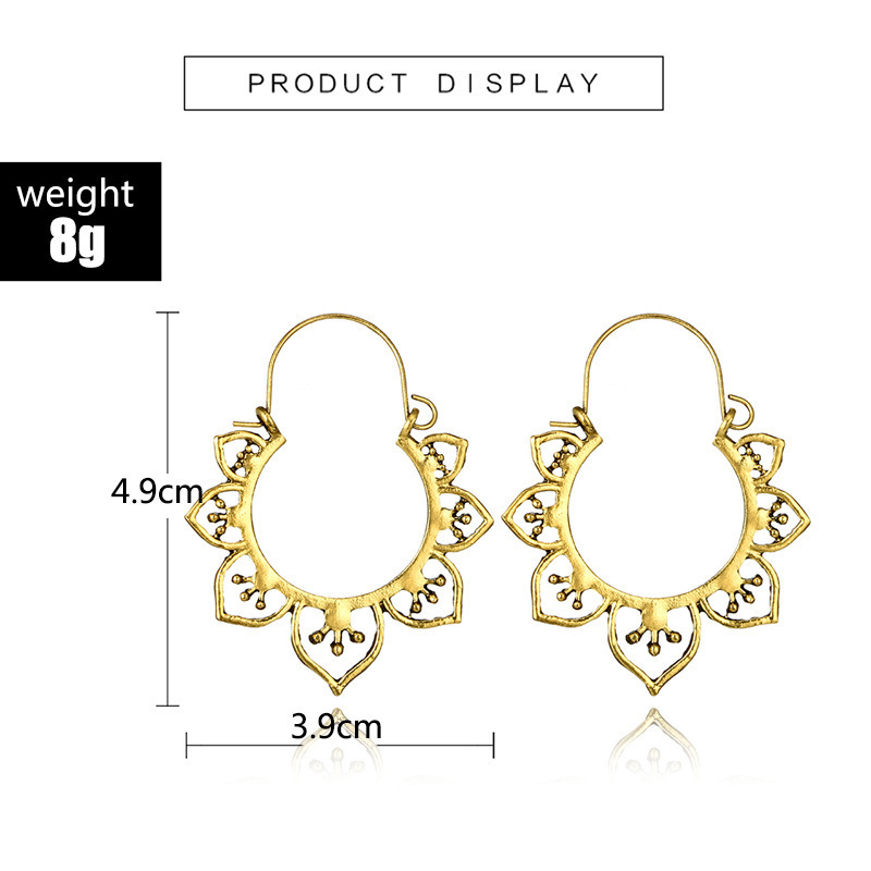 Hf547b031dad64e8c8c5e6821766e45437 - HuaTang Vintage Gold Silver Color Metal Dangle Hollow Earrings for Women Geometric Carved Ethnic Earring Indian Jewellery brinco