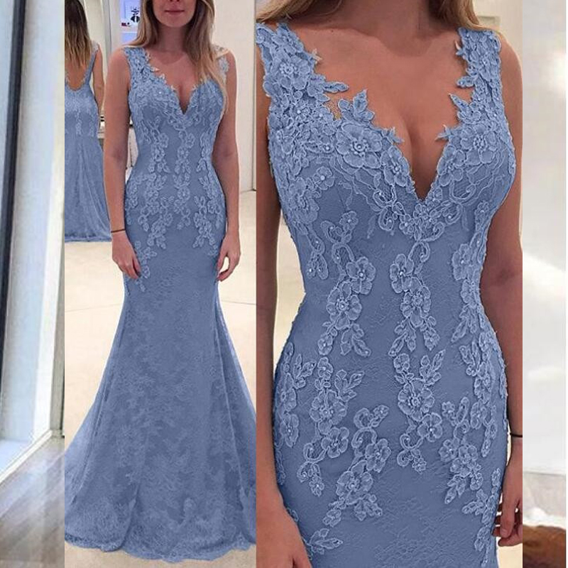 Simple Evening Dresses Long Deep V-Neck Sleeveless Floor Length Formal Party Gowns Evening Dress Vestidos de festa longo