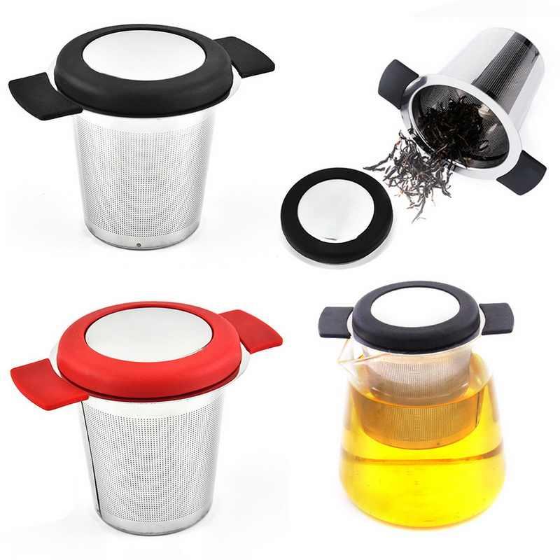 الفولاذ المقاوم للصدأ الشاي Infuser سلة ل مرشحات القهوة الشاي فضفاضة قابلة لإعادة الاستخدام تصفية اضافية غرامة شبكة مصفاة شاي مع مقبض وغطاء