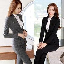 Female Elegant Business Uniform 2 Piece Set Pant Suits for L