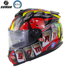 Visera kasko Moto çift Lens Casque ECE onaylı serin kask tam yüz motorlu kask Casque De Moto DOT motosiklet kask