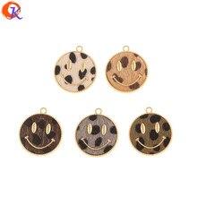 Design Cordial 50 pièces 25*28MM accessoires de bijoux/bricolage/effet imprimé léopard/fait à la main/forme du visage/breloques/boucles doreilles