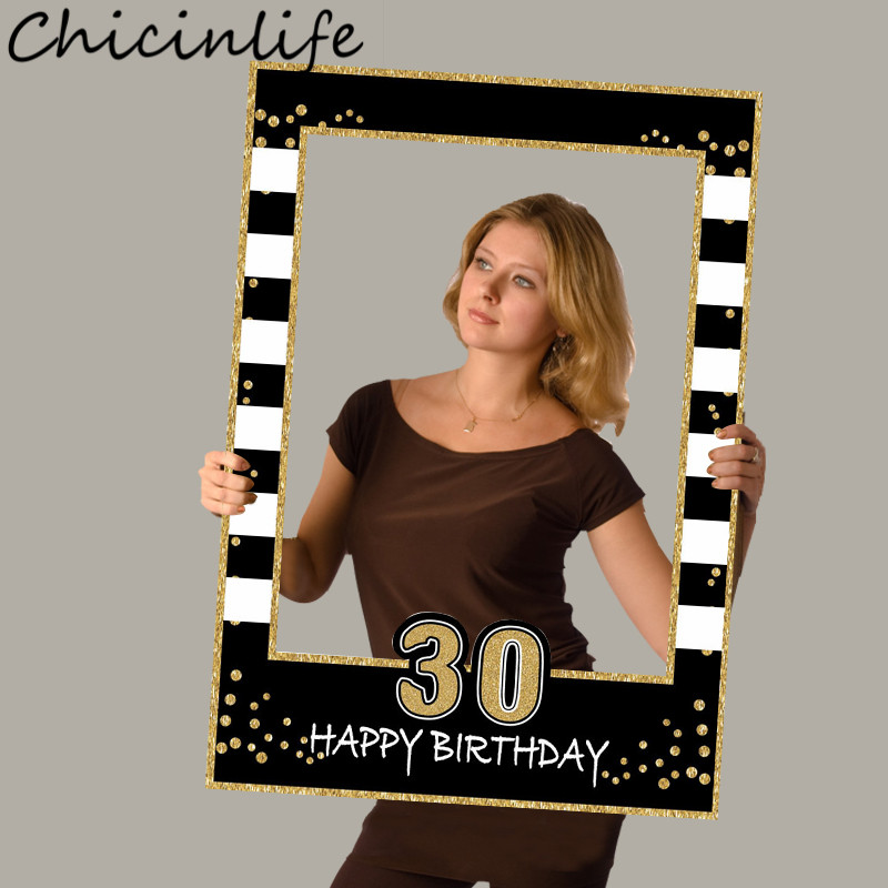 Chicinlife 1Pcs 1st 16th 18th 21st 40th 50th 60th Photo Booth Props Birthday Party Photo Frame 1st Birthday Anniversary Supplies