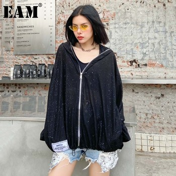 [EAM] Loose Fit Black Brief Perspective Big Size Thin Jacket New Hooded Long Sleeve Women Coat Fashion Tide Spring 2020 1U722