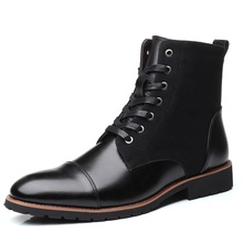 Buy Men Casual Boots Perforated Vegan Leather High-Top Wing Tip Brogue Western Derby Dress Boots Oxfords Dress Ankle Boots directly from merchant!