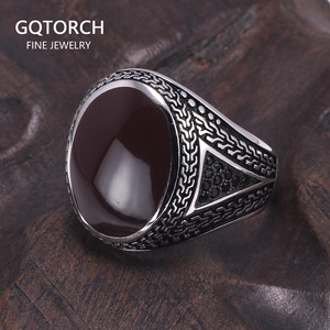 Image 1 - Real Pure Mens Rings Silver s925 Retro Vintage Big Turkish Rings For Men With Color Stones Turkish Jewellery Anel Masculino