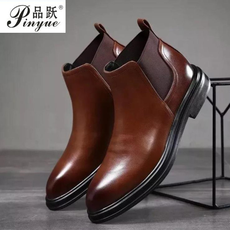Spring Winter Fur Men's Chelsea Boots Leather Casual Shoes Male British Style Slip-on Wedding Dress Short Boot For Man