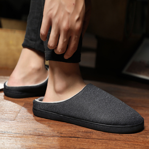 Image 2 - Mens Home Slippers Winter Warm Shoes With Fur Flat Casual Shoe Men Footwear Non slip Slipper Comfort Zapato Hombre Plus Size 47