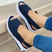 Platform Sandals Footwear Shoes Women Stretch-Fabric Velcro Comfort Female Walking Casual