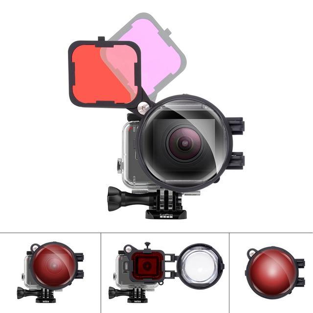 3in1 액션 카메라 다이브 필터 gopro hero 7 6 5 용 16x 매크로 렌즈로 설정 블랙 수중 다이빙 레드 마젠타 다이브 렌즈 필터