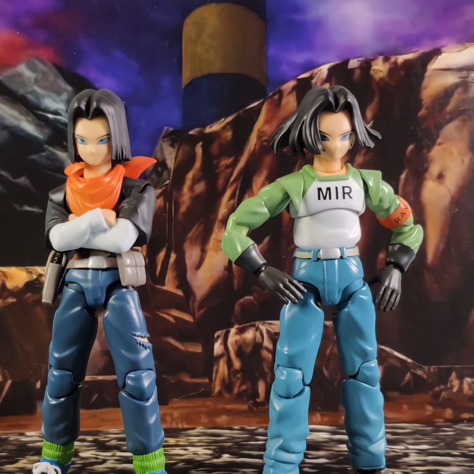 Lensple 2PCS/Set Dragon Ball Class E Adventurer SHF Piccolo ANDROID NO.17 And Super ANDROID NO.17 Action Figure Model Toys