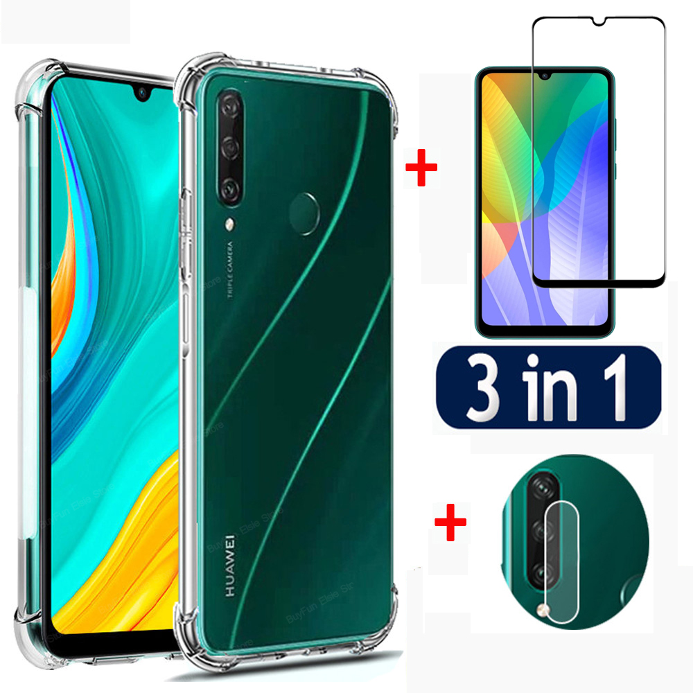 3 in 1 Case + Glass + Lens On For Huawei Y6P Y7P 2020 Protective Cover For Huawei Huawey P40 Lite E Pro Plus P40Lite Airbag Case