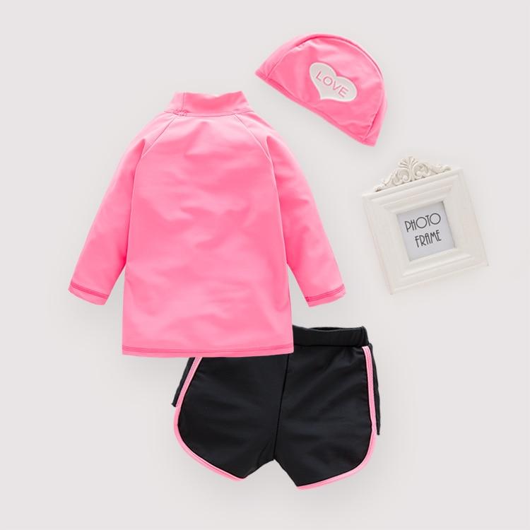 Children KID'S Swimwear Girls' Two-piece Swimsuit Peach Heart Swimwear Beach Coat With Swim Cap 3 Pieces