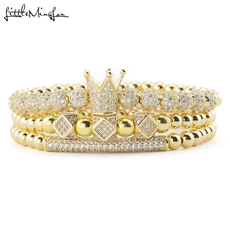 3pcs/Set Luxury Gold beads Royal King Crown Dice Charm CZ Ball Men Bracelet mens fashion bracelets & bangles for Men Jewelry