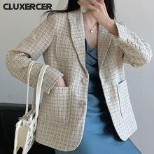 Женский однобортный твидовый Блейзер винтажный короткий пиджак