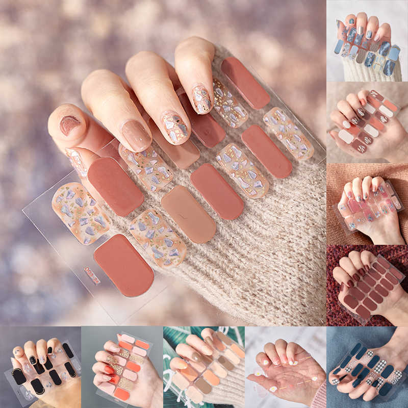 14Pcs/Sheet Glitter Gradiëntkleur Nail Stickers Nail Wraps Volledige Cover Nagellak Sticker Diy Zelfklevende nail Art Decoratie