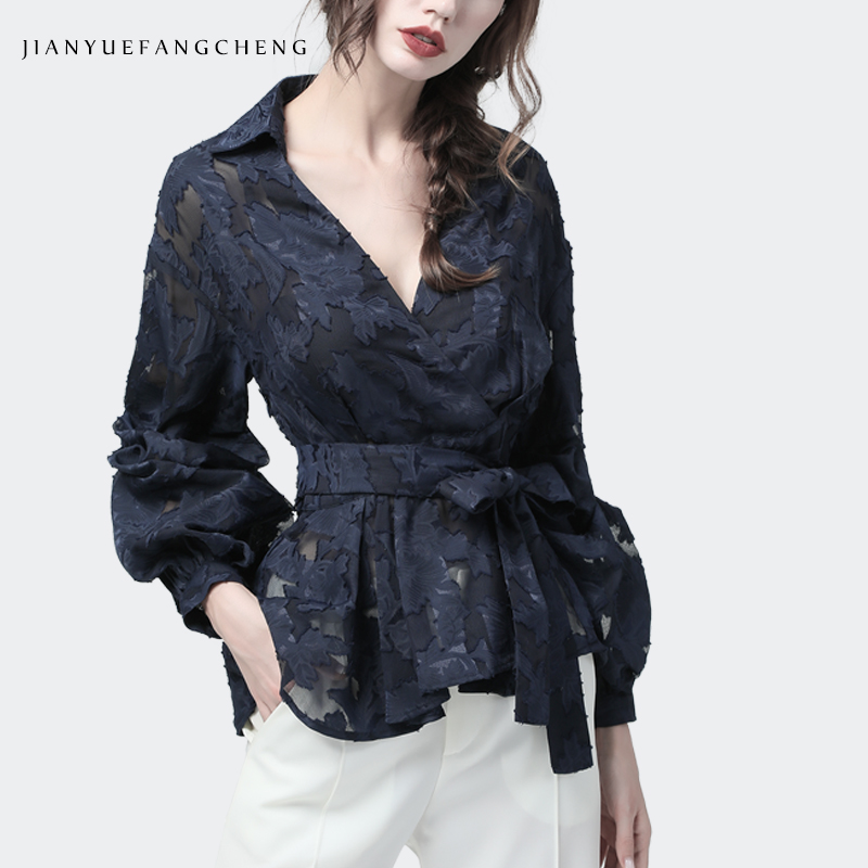3D Floral Ladies Blouse Embroidery Lace Top Long Sleeve V-Neck Elegant Office Blouses With Belt Plus Size High Waist Female Tops