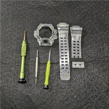 Correa y bisel de goma de silicona para reloj GW9400, correa de reloj transparente y funda con herramientas