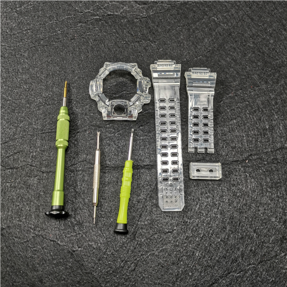 Silicone Rubber Watch Strap And Bezel For GW9400 Watch Band Transparent Watchband And Case Cover With Tools