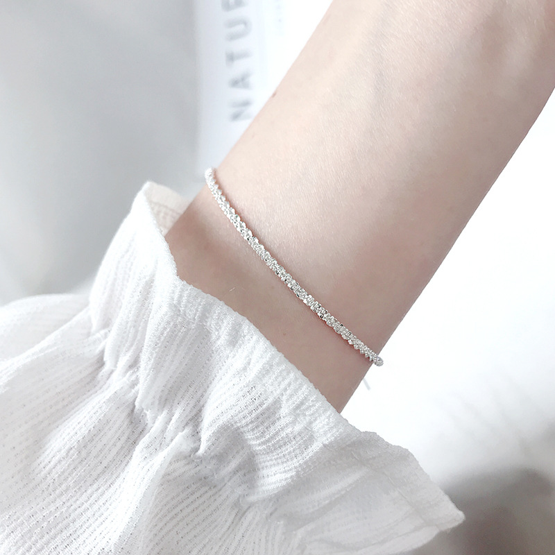 Thin 925 stamped silver plated Shiny Chains Bracelet For Women Girls Friend Jewelry Korean Fashion Trendy Jewelry 4