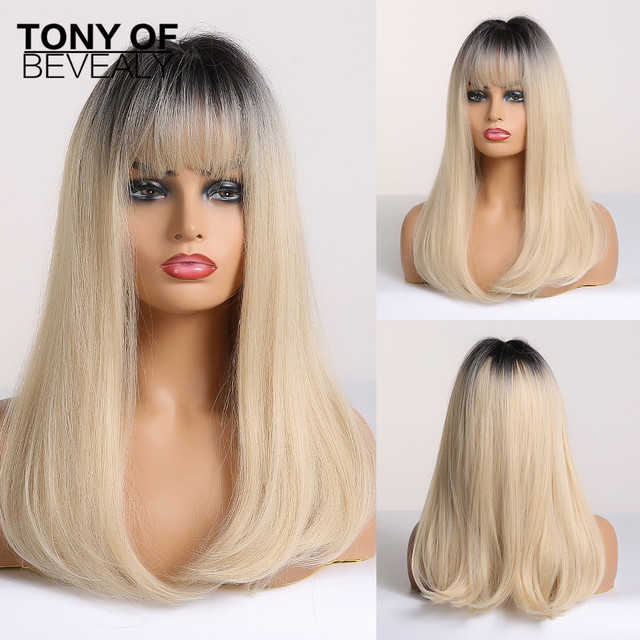 Long Straight Black to Beige Ombre Synthetic Wigs With Bangs For Women Natural Daily Party Hair Wigs Heat Resistant Fiber