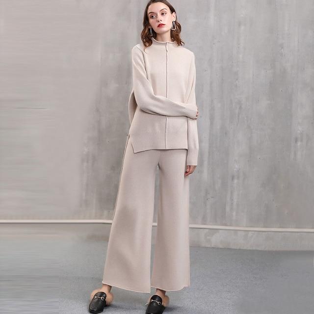 Γυναικείο πλεκτό σετ Πουλόβερ και παντελόνι