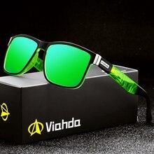 Viahda óculos de sol polarizado para homem e mulher, óculos de sol masculino para direção, espelhado, verão, uv