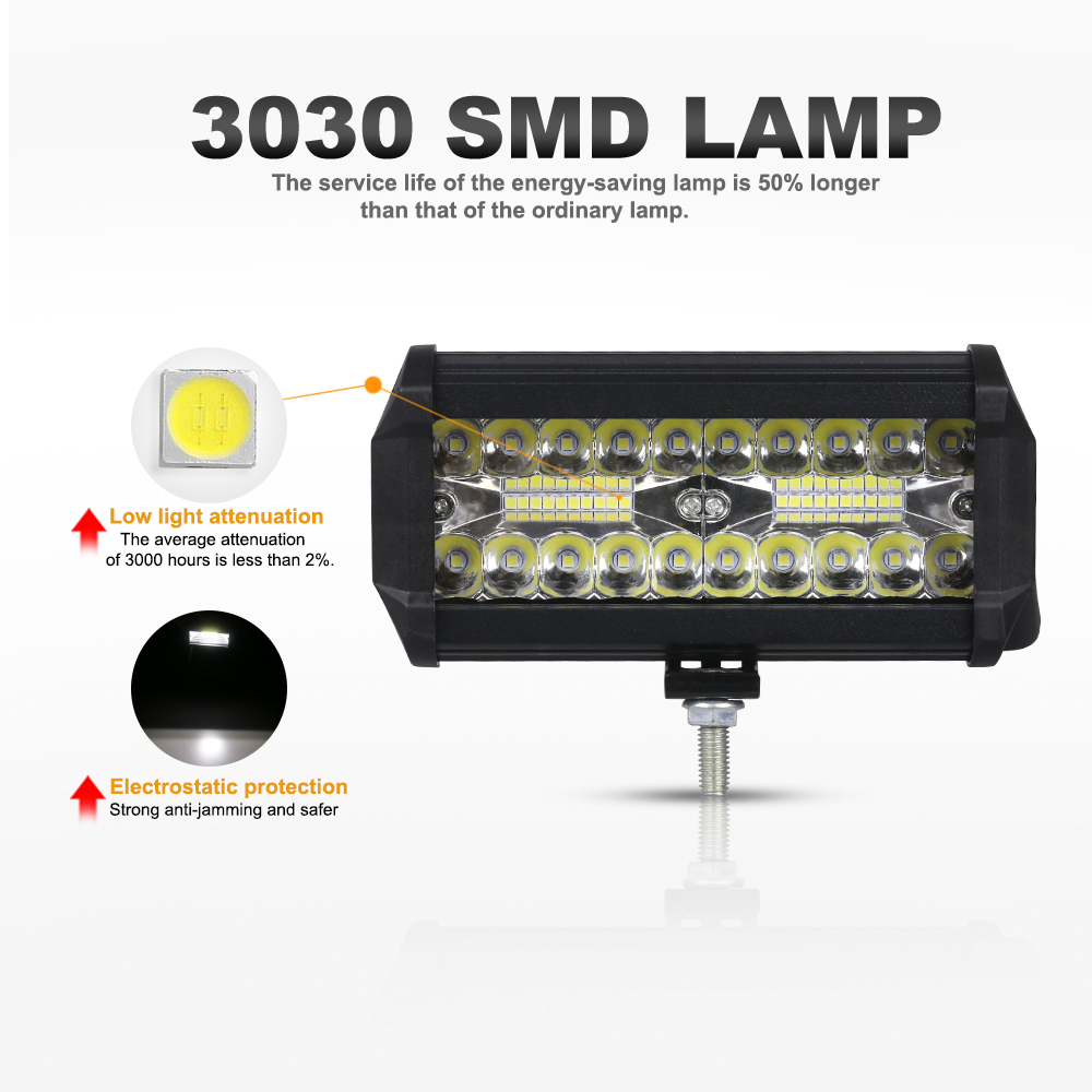 """2x 7/"""" inch 400W LED Work Light Bars spot Combo Driving OffRoad Tractor 4WD SUV"""