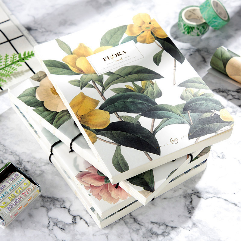 New Blank Vintage Sketchbook Diary Drawing Painting Retro Flora Flower Notebook Paper Sketch Book Office School Supplies Gift